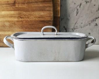 Vintage French small white enamel fish kettle
