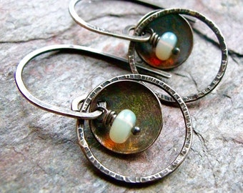 Opal Sterling Silver Hammered Textured Ring Earrings