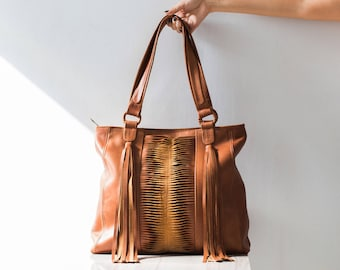 NADIA - Fringe leather tote bag, brown leather boho bag, leather boho bag, tassel bag, genuine leather bag, leather tote women, women gift