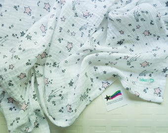 Extra large double gauze baby blanket, light pink and grey shooting stars muslin blanket, for baby girl