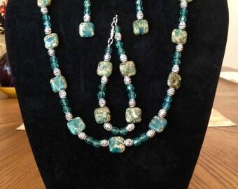 Blue Jasper jewelry set