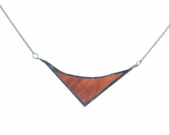 Dark brown stained glass necklace