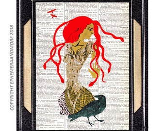 GORGON MEDUSA with Crow raven art print wall decor original mixed media Illustration Greek Mythology on vintage dictionary book page red