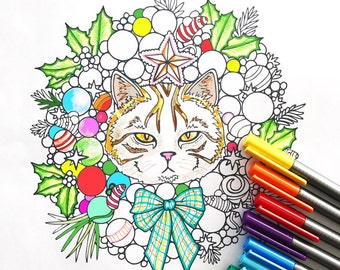 Holiday Cat Wreath coloring page