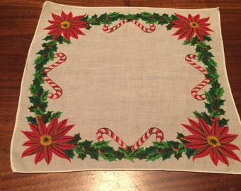 Vintage Christmas Holiday Candy Cane and Poinsettia Handkerchief