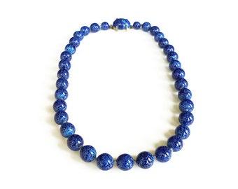 Lapis Glass Bead Mid Century Necklace - Cobalt Blue, Art Glass, Box Clasp, Single Strand, Vintage Necklace, Choker Necklace