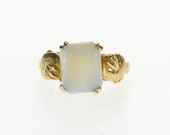 10k Ornate Rectangular Prong Inset Opal Statement Ring Gold