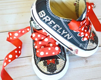 Minnie Mouse Toddler Converse Bling Shoes, Red Disney Inspired Rhinestone Converse, Personalized Converse, Baby and Adult Custom Bling Shoes