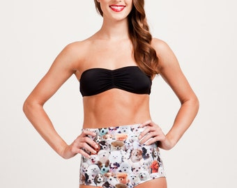 Too Many Puppies Is Not Enough Puppies Print High Waisted Bikini Bottoms, limited quantities