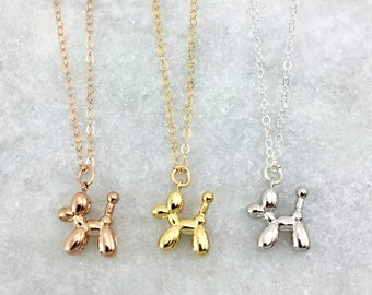 Balloon Dog Charm Necklace | Dainty Necklace | Rose Gold Filled | Gold Filled | Sterling Silver