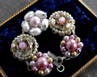 Vintage clip-on earring bracelet,soft pinks jewelry, assemblage, crystal, beaded, cluster, antique, up cycled, recycled
