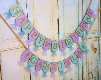 Happy 1st Birthday Banner, Girl's Name Banner Optional, Lavender Turquoise and Gold Banner, Girls Birthday Decoration Under The Sea Birthday