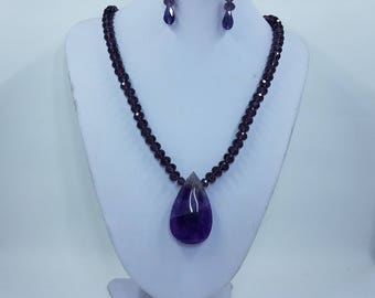 Amethyst & Crystal Necklace Set, Amethyst Teardrop Pendant, Purple Crystal Beads Amethyst Pendant Necklace, Floral Toggle Clasp Necklace