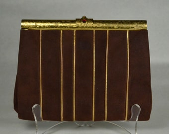 1930s Art Deco Suede Clutch Handbag_Chased Frame_METALLIC GOLD Leather Piping & Lining_Envelope_Purse_All Original-True 30s_Garnet Cabochons