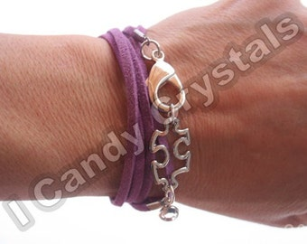 Puzzle Piece Autism Awareness Bracelet with Crystal and Faux Suede