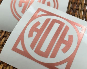 """Rose Gold Monogram Decal - **LIMITED EDITION** - Choose 2"""", 3"""" or 4""""- perfect for phone/tablet cases, waterbottles, cars and more"""