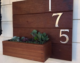 House Number With Succulents