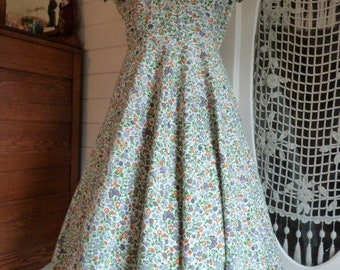 Vintage 50's Cotton Floral and Butterfly Print Dress 1950's