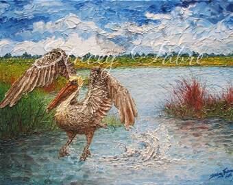 Pelican Splash - matted to fit 11x14 - PRINT