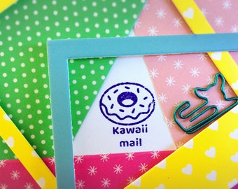 Happy Mail Stamp ~ kawaii donut rubber stamp, doughnut, cute, pen pal, snail mail, postcard id, post crossing, letter writing, birthday, fun