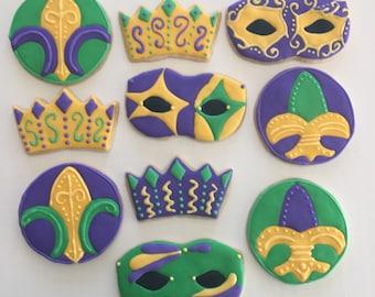 Mardi Gras Sugar Cookies (one dozen)