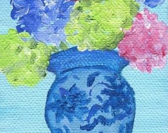 Hydrangeas mini painting on Canvas with Easel, Blue vase original, small hydrangeas acrylic canvas, flowers artwork, hydrangea art