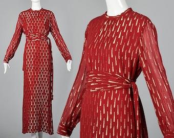 Adele Simpson Elegant Evening Gown Romantic Formal Dress Loose Flowy Dress Full Length Column Dress Vintage 1970s