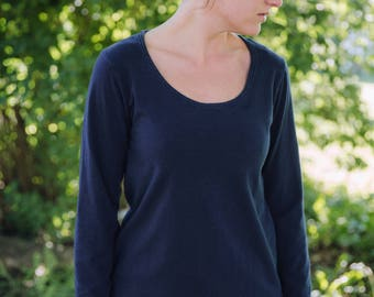 Womens Cotton Clothing T Shirt Long Sleeves Made in the USA - Made to Order - Everyday Scoop
