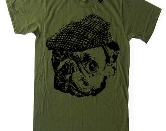 Pug T Shirt Vintage Graphic T Shirt Pug in a Hooligan Hat Retro T Shirt Animal Humor T Shirt Mens Pug T Shirt Gifts for Him T Shirt