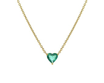 Large Emerald Heart Necklace, 14k solid gold