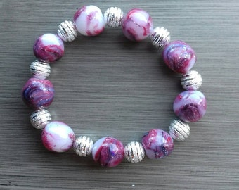Handmade bracelet with polymer clay beads