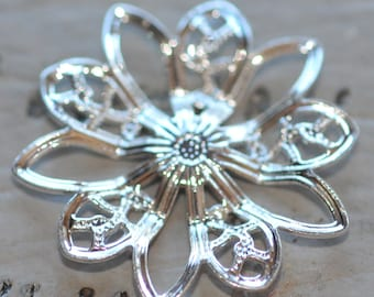 Set of 6 Silver Filigree Flower piece 20mm connector