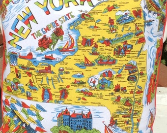 "Retro New York Pillow Cover, Empire State Pillow Cover, Souvenir of New York, 18"" New York Pillow Cover, New York Souvenir, Retro New York"