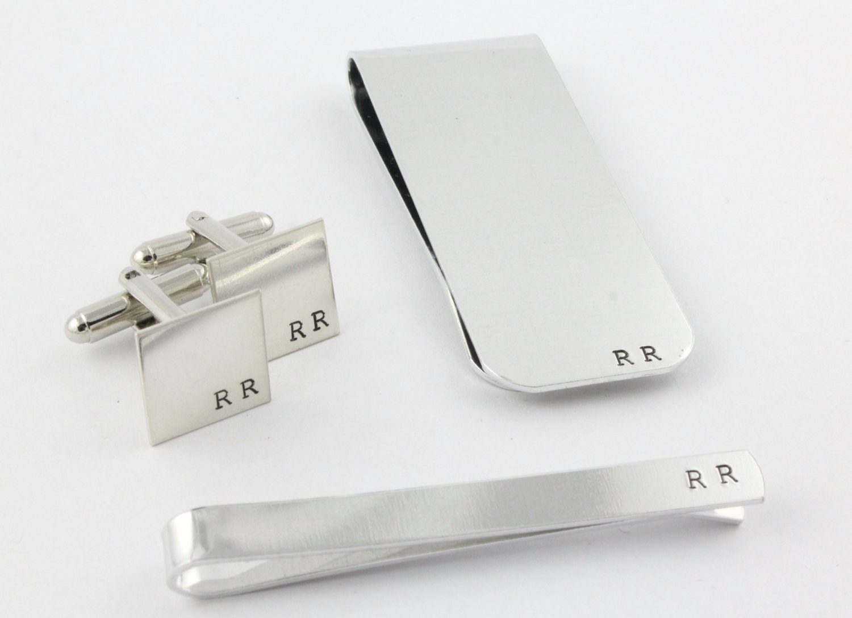 Personalized Cufflinks - Custom Tie Bar - Silver Money Clip - Men's Accessories Gift Pack - Groomsmen Gift - Gift for Groomsman - Cuff Links