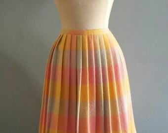 Vintage pastel plaid skirt.