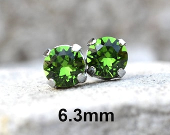 Fern Green Studs, 6.3mm Earrings, Studs in Settings, Green Crystal Earrings, I make these earrings with Sparkling Crystals from Swarovski