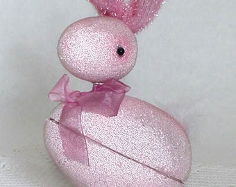 Vintage Pink Easter Bunny Candy Container (Inventory #M2566)