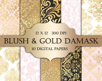 Blush & Gold Foil Damask Digital Paper - pastel blush gold damask metallic printable backgrounds scrapbooking wedding invitations cards