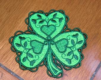 Embroidered Magnet - Shamrock - Light Green & Dark Green
