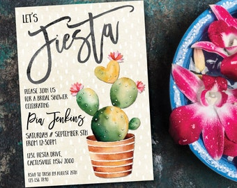 Fiesta bridal shower invitation, bridal shower invitation, bridal shower fiesta, fiesta, Mexican, cactus, cacti, green, pink, summer (Pia)