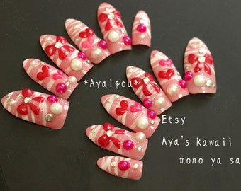 Long nail, stiletto, pointy nail, pink, zebra, bow, heart, 3D nail, Japanese, gyaru, bling, nail swag, dope nail, crazy nail art, fake nail