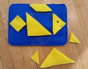 Fish tangram puzzle