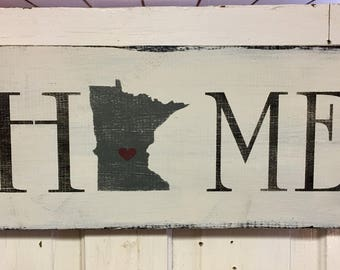 Farmhouse Minnesota Home Wall Art Wood Sign Handmade Made To Order MN Home Fixer Upper Style Rustic Sign Modern Farmhouse Wooden Sign