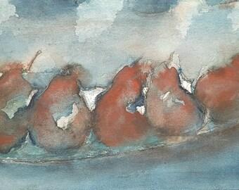 The pears. Original watercolor painting on paper. Dark blue berries