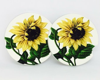 Sunflower sandstone car coasters, sandstone drink coaster, car coaster, set of 2 auto drink coaster