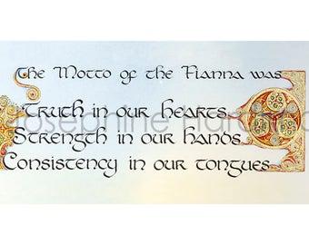 Irish Folklore Calligraphy Print Fianna Motto