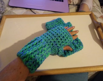 Fingerless gloves, green and blue 2 strand winter gloves ready to ship No 253