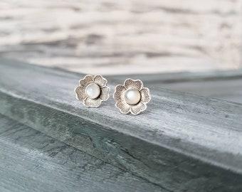 White Moonstone Earrings, Flower Earrings, Minimalist Earrings, Sterling Silver Earrings, White Stone Earrings, Silver Post Earrings