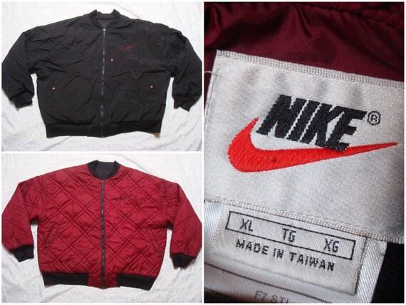 Vintage Retro Men's 90's Nike Jacket Black Red Silver Sleeve Pocket Anorak Full Zip Windbreaker Jacket Streetwear XL JXBVDLAb2