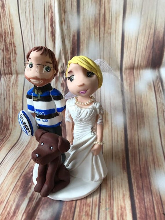 Custom Wedding cake Topper - Rugby Theme - Bride and Groom figures